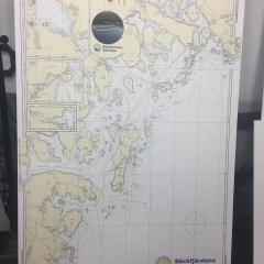 Planprintad pvc med sjökort till Bäckfjärdens Båtklubb