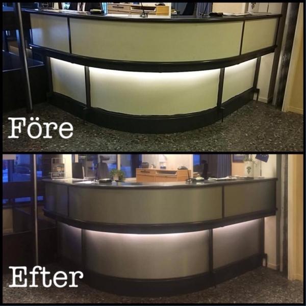 Receptionsdisk, före och efter foliering