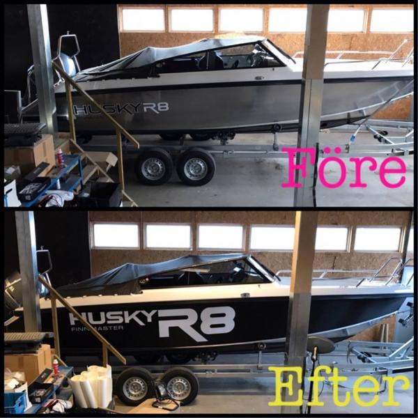 båtfoliering, båtdekor, före och efter