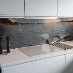 Sommarstuga som tagit med sig utsikten in i köket. Print på akrylglas.